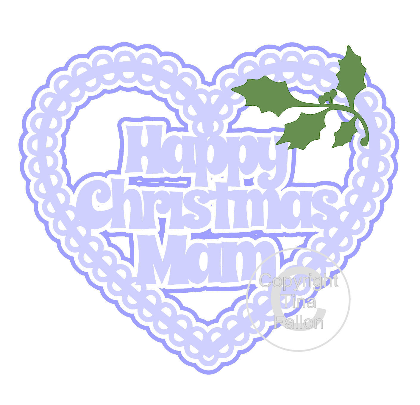 Christmas Heart Mam Card Topper / Hanging Ornament