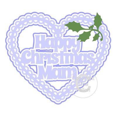 Christmas Heart Mam Card Topper / Hanging Ornament