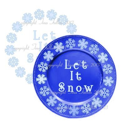 Let It Snow Vinyl design for Christmas charger plates