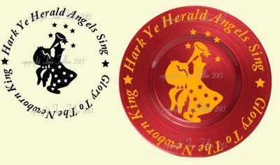 Hark Ye Herald Angels Sing Vinyl design for Christmas charger plates