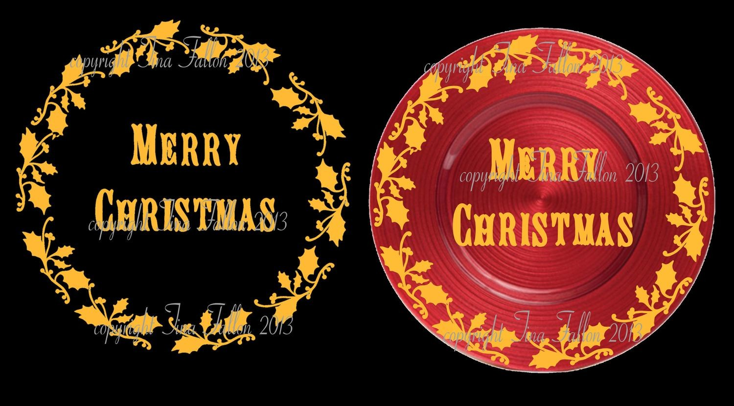 Holly and Merry Christmas Vinyl design for Christmas charger plates