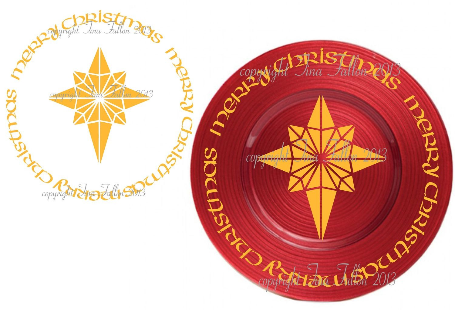 Christmas Star Vinyl design for Christmas charger plates