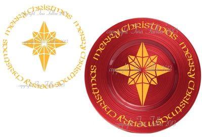 Christmas Star Vinyl design for Christmas charger plates