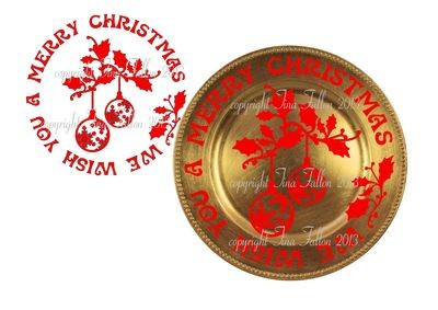 Baubles Vinyl design for Christmas charger plates
