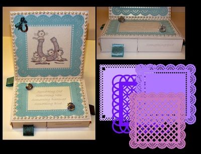 Square Easel Card with 4 Underdrawers choice No 2 with 4 Doilies  FCM