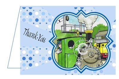 Tommy The Tank Engine Thank You Card 2 per A4 sheet