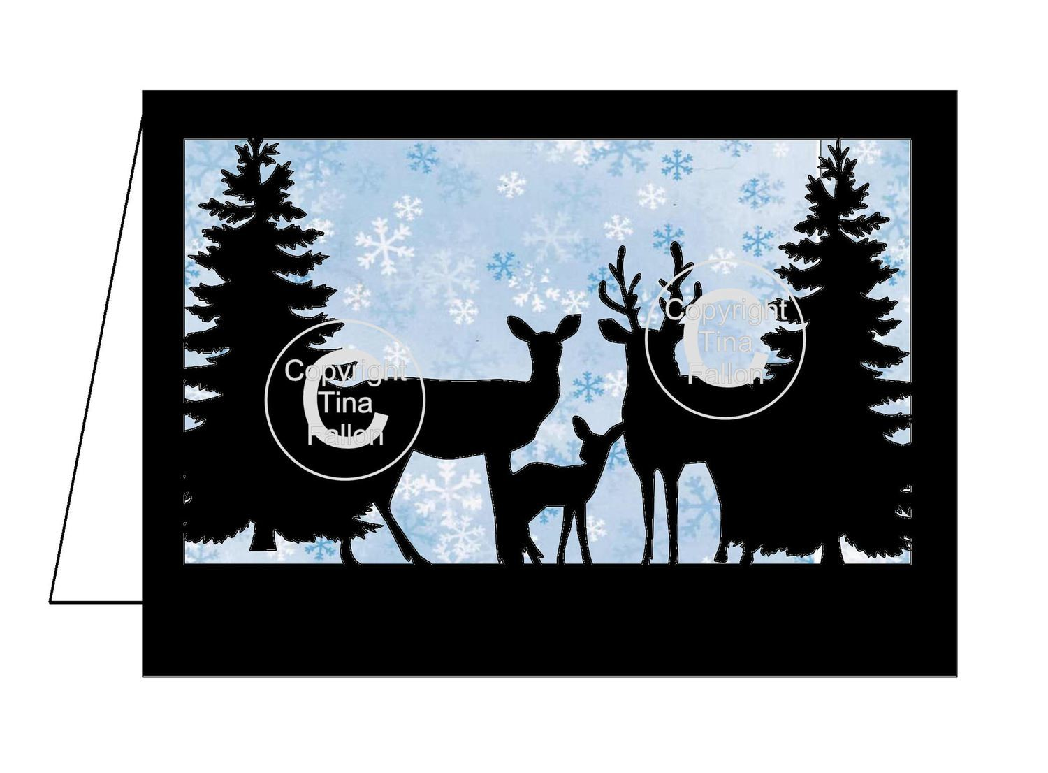 Deer In Forest Christmas Card template  includes 3d layering