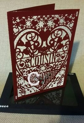 Cousin Birthday Card (with box)  beautiful cutout design