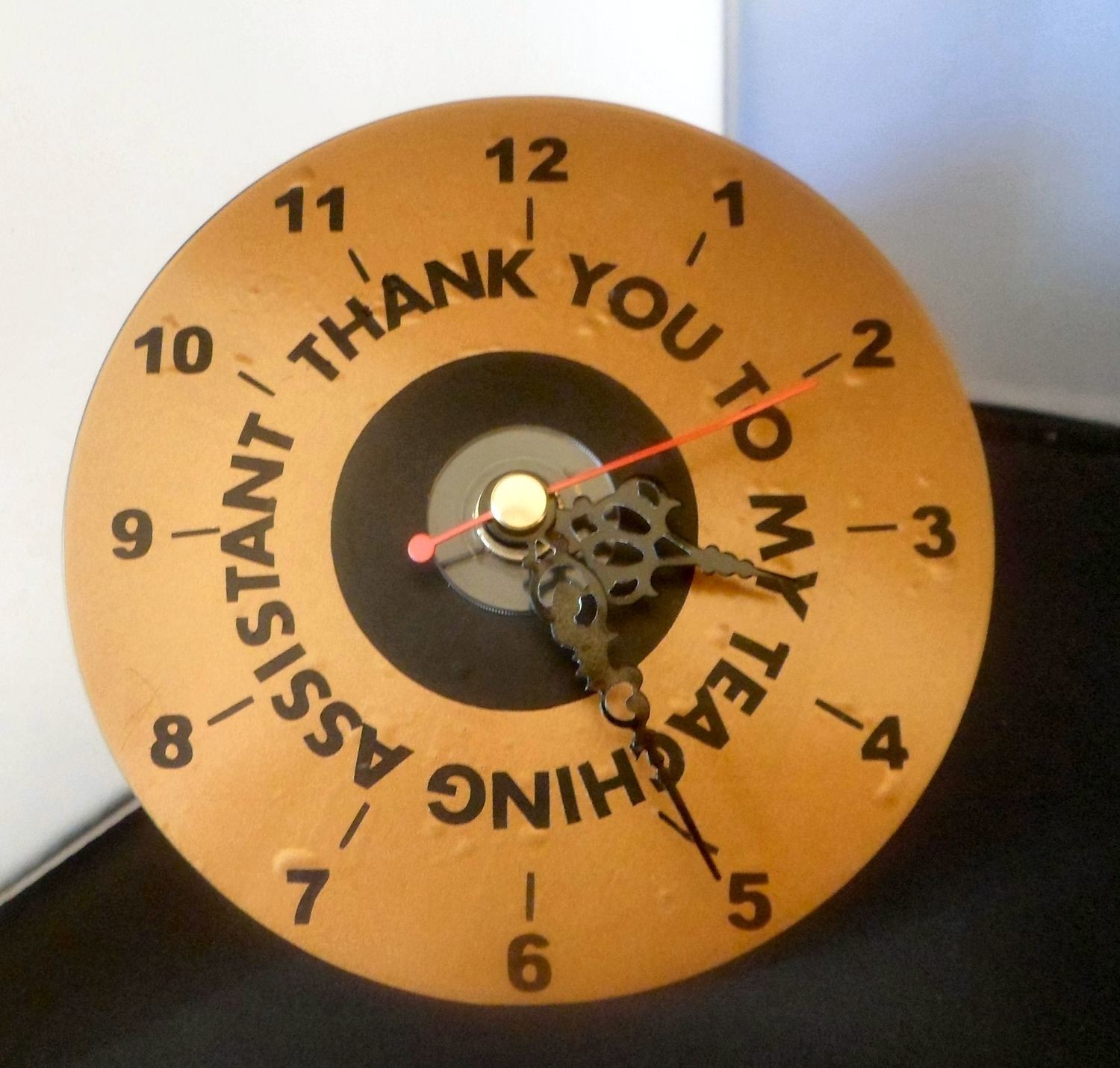 Teaching Assistant  Clock Face for CD's / 45's / LP's and 78's