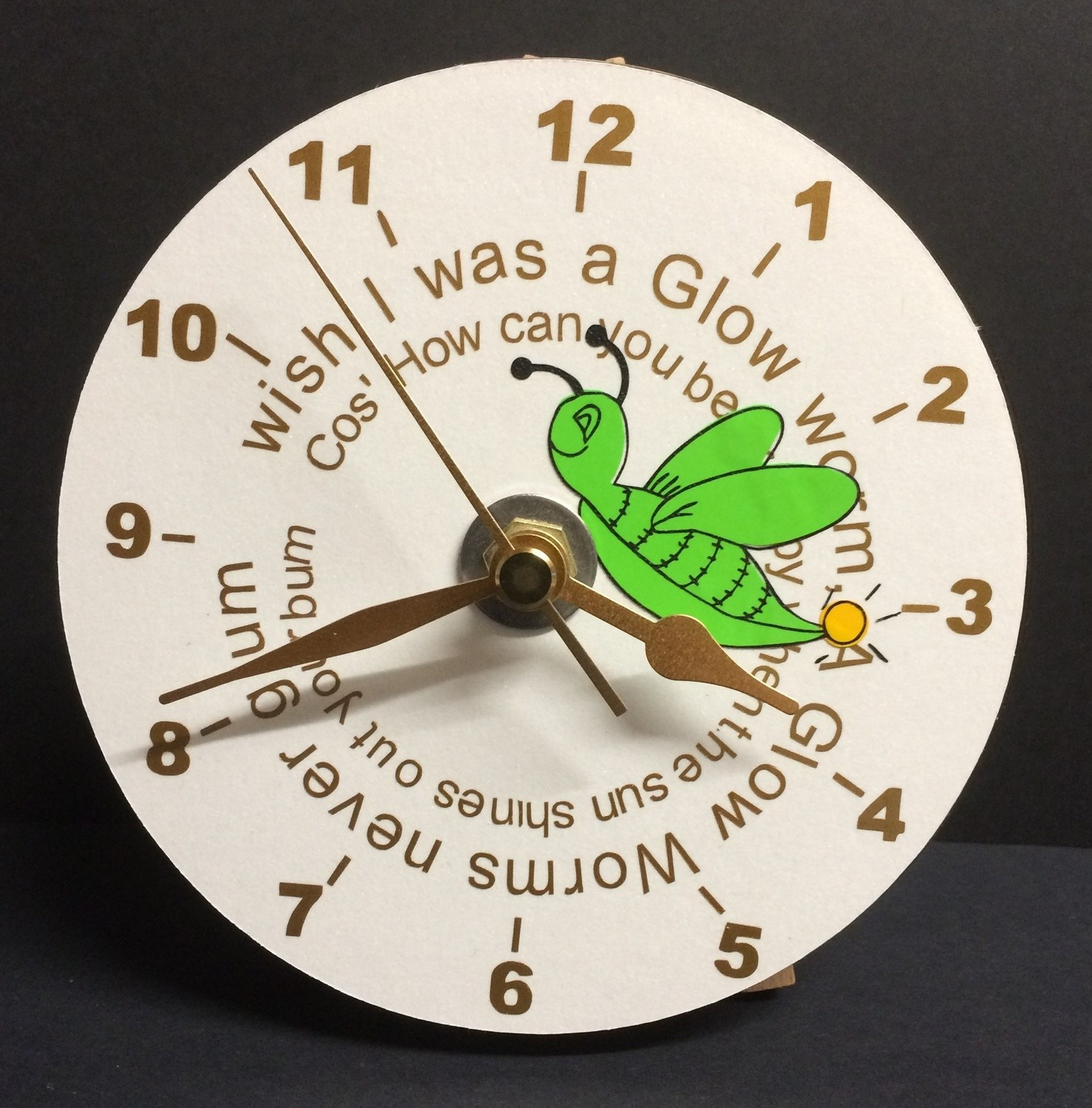 Glow Worm Clock Face for CD's / 45's / LP's and 78's