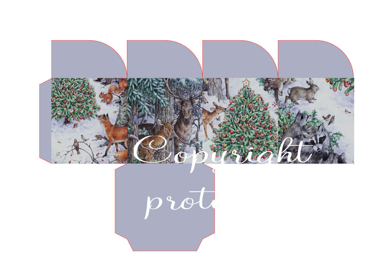 Winter Forest Friends Christmas Treat Box  Print N cut for Cameo