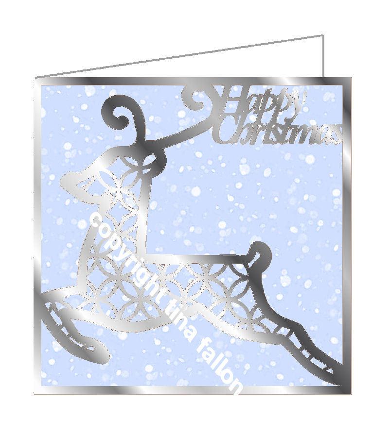 Lattice Reindeer Solo Cutout Card Blank