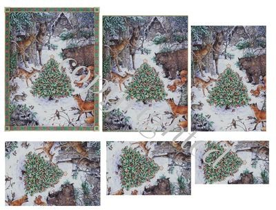 Forest Animals in winter Scene A4 Pyramid sheet print n cut