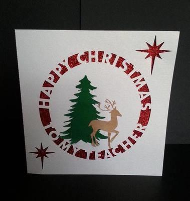 Happy Christmas TEACHER Card Template