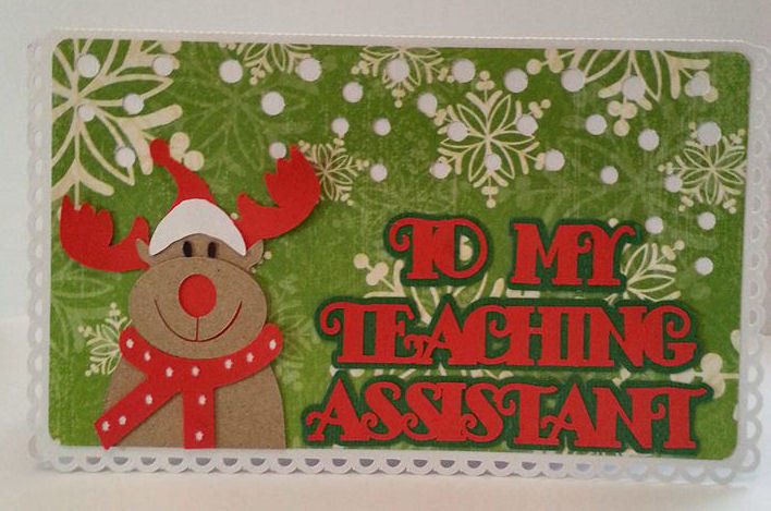 Happy Christmas Teaching Teacher Assistant Rudolph - CARD TEMPLATE