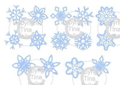Snowflakes selection toppers, tags,