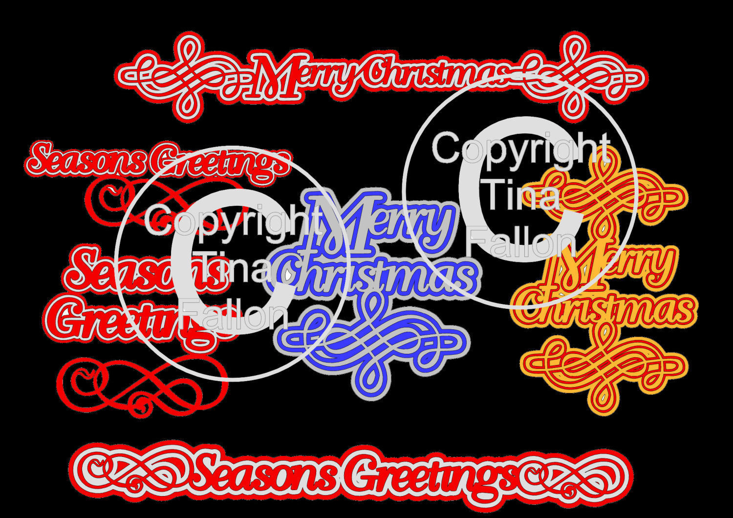 Christmas With a Flourish 6 layered sentiment toppers