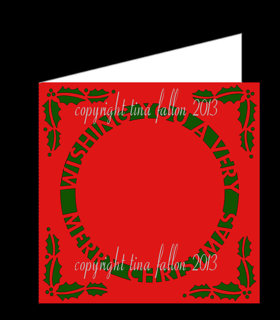 CHRISTMAS CARD WITH CUT OUT AND HOLLY DETAIL