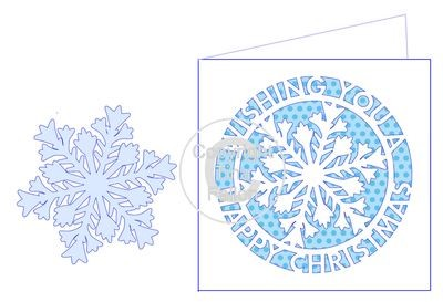 Happy Christmas Snowflake CARD TEMPLATE WITH ADDITIONAL SNOWFLAKE FOR 3D