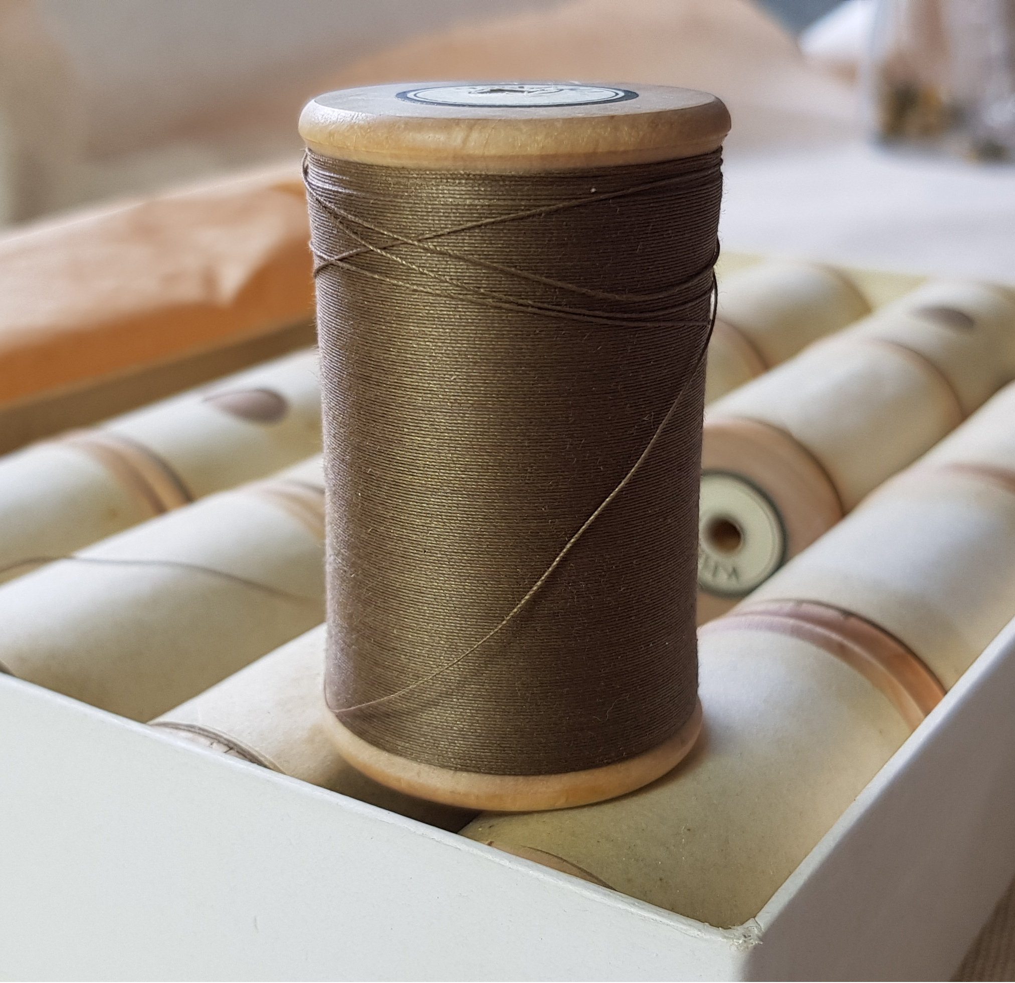 Khaki Thread on wooden spool 00000