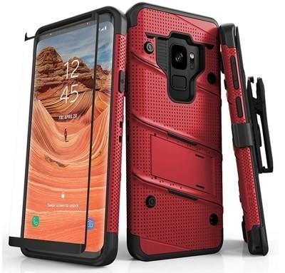 Case Protector Galaxy S9 Normal c/ Vidrio Templado c/ Gancho Zizo
