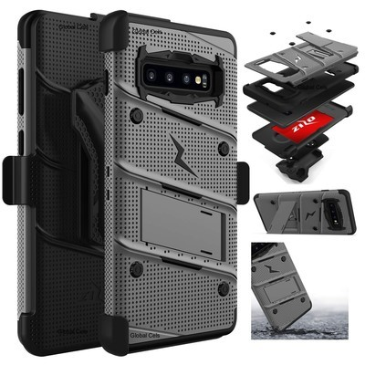 Case Galaxy S10 Plus c/ 2 parantes y tapa gancho Militar - Gris Negro