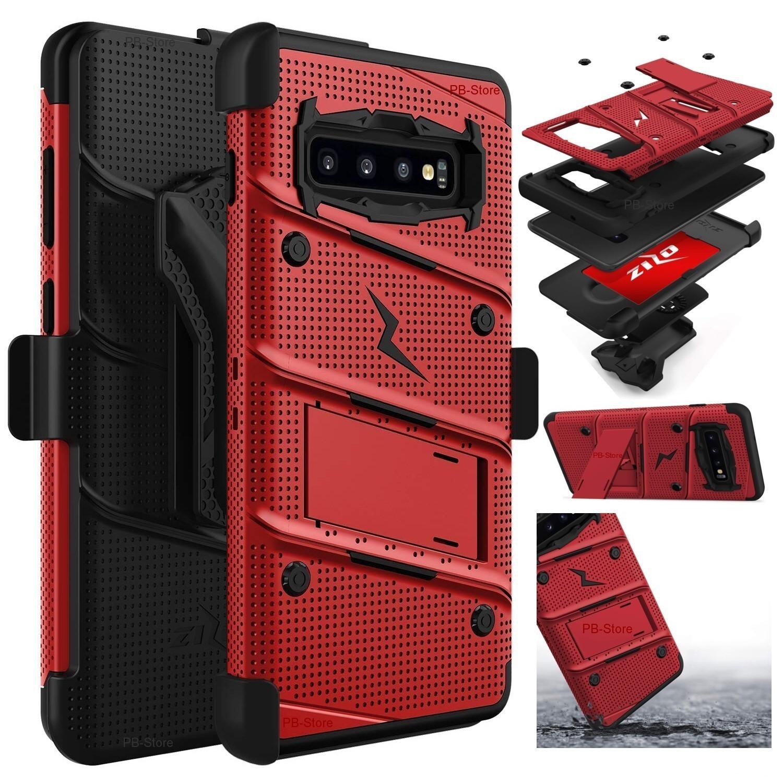 Case Galaxy S10 GX Normal c/ 2 parantes y tapa gancho Militar - Rojo Vino con Negro