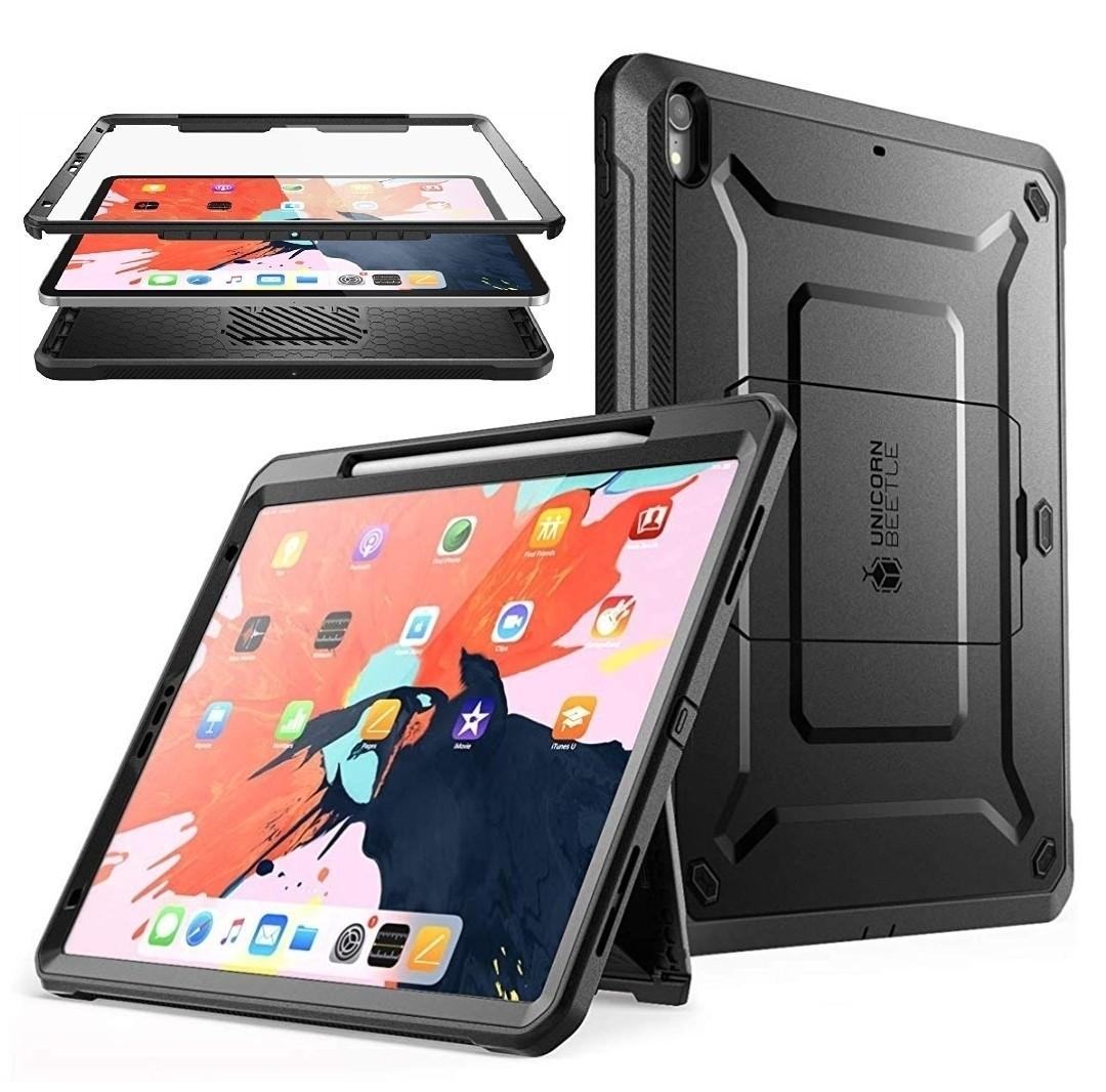 Case Ipad Pro 11 2018 Carcasa c/ Porta Lápiz c/ Mica Integrada - Negro