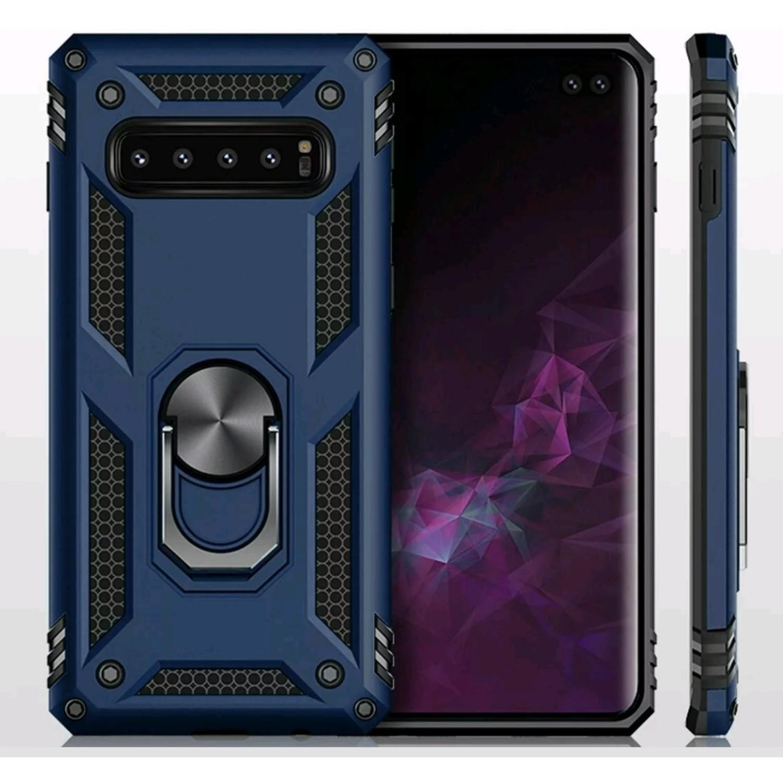 Case Galaxy S10 Plus Funda c/ Anillo Metal Soporte Giratorio Azul Antigolpes