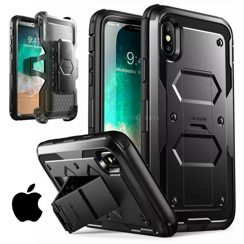 Case Iphone XS Carcasa 360 c/  Parante c/Mica c/ Gancho Extremo USA Negro