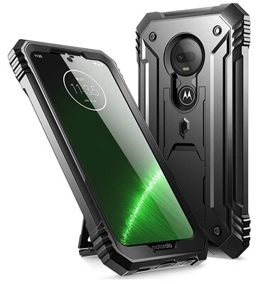 Case Moto G7 Plus G7 Recias c/ Mica c/ Parador Vertical y Horizontal Negra Super Armor USA