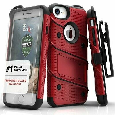 Case Iphone 7 Plus Z-bold USA c/ Vidrio T Rojos con bordes Negros