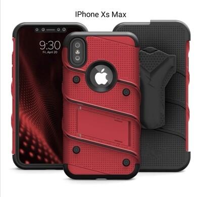 Case IPHONE XS MAX c/ Vidrio Templado Rojo Vino c/ Gancho para Correa Funda USA
