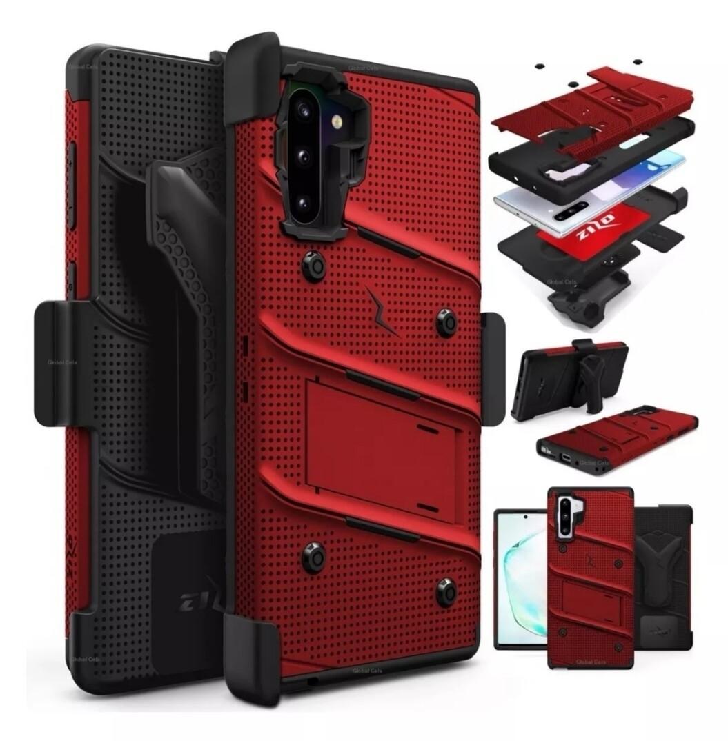 Case Galaxy Note 10 Plus Rojo Vino c/ Gancho Correa de 3 Partes