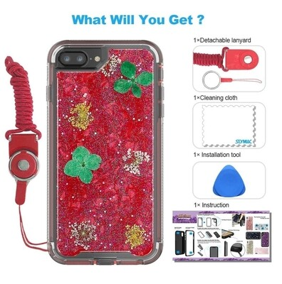 Case Funda iPhone 8 Plus/iPhone 7 Plus/iPhone 6 Plus/6S con flores secas SeyMAC - Rojo