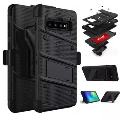 Case Galaxy S10 Plus SX Plus Negro c/ Parador c/ Tapa Gancho Correa