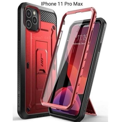 Case IPHONE 11 PRO MAX Rojo Vino c/ Negro c/ Parador Vertical y Horizontal c/ Gancho