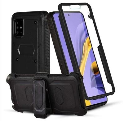 Case Galaxy A51 con Gancho Clip Correa Funda 360 de Tapas - Negro