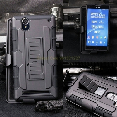 Case Sony Xperia T2 Ultra holster Gorila con gancho giratorio y parante inclinable