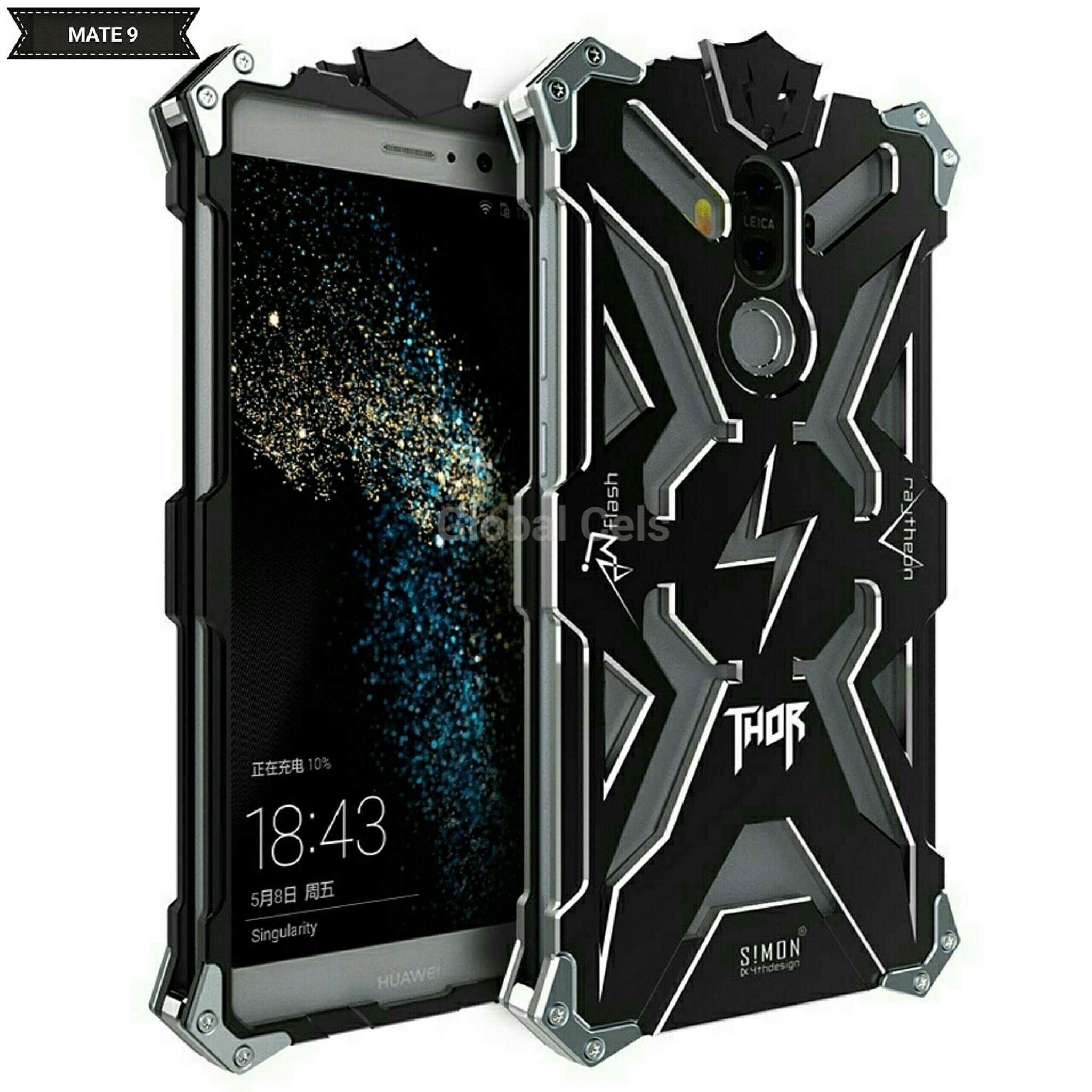 Case Metal Huawei Mate 9 Armadura Thor con Pernos Negro 00210