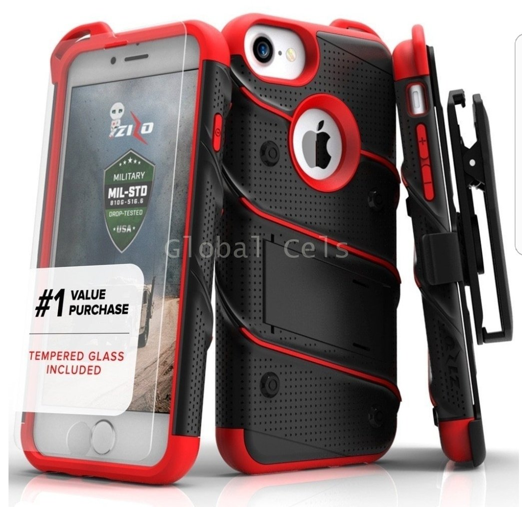 "Case Funda Iphone 7 / 8 de 4.7"" Zizo Rojo Oscuro Negro Militar mas vidrio templado 00188"