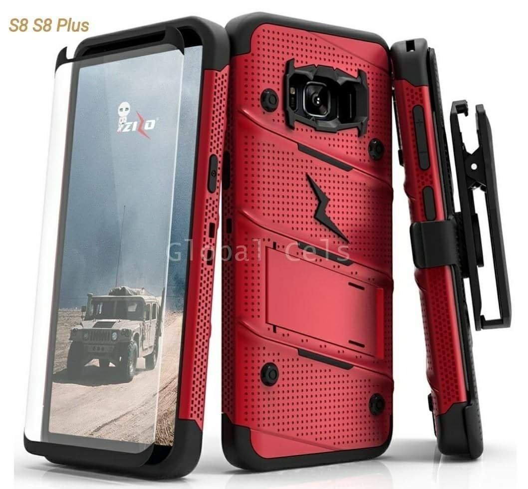 Case Zizo Galaxy S8 Plus + Vidrio Templado + Parante + Gancho Rojo 00238