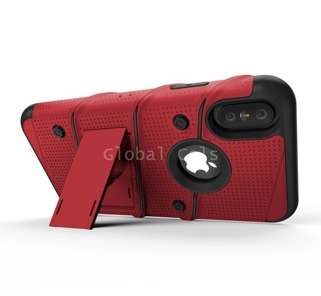 Case Iphone X Iphone 10 Carcasa con Vidrio Templado USA Rojo