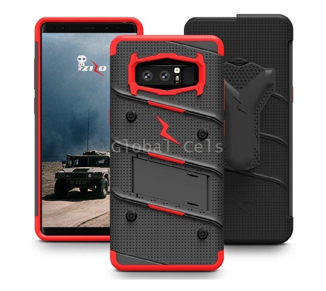 Case Galaxy Note 8 Zizo USA Extremo c/ Vidrio Glass Negro Rojo 00266