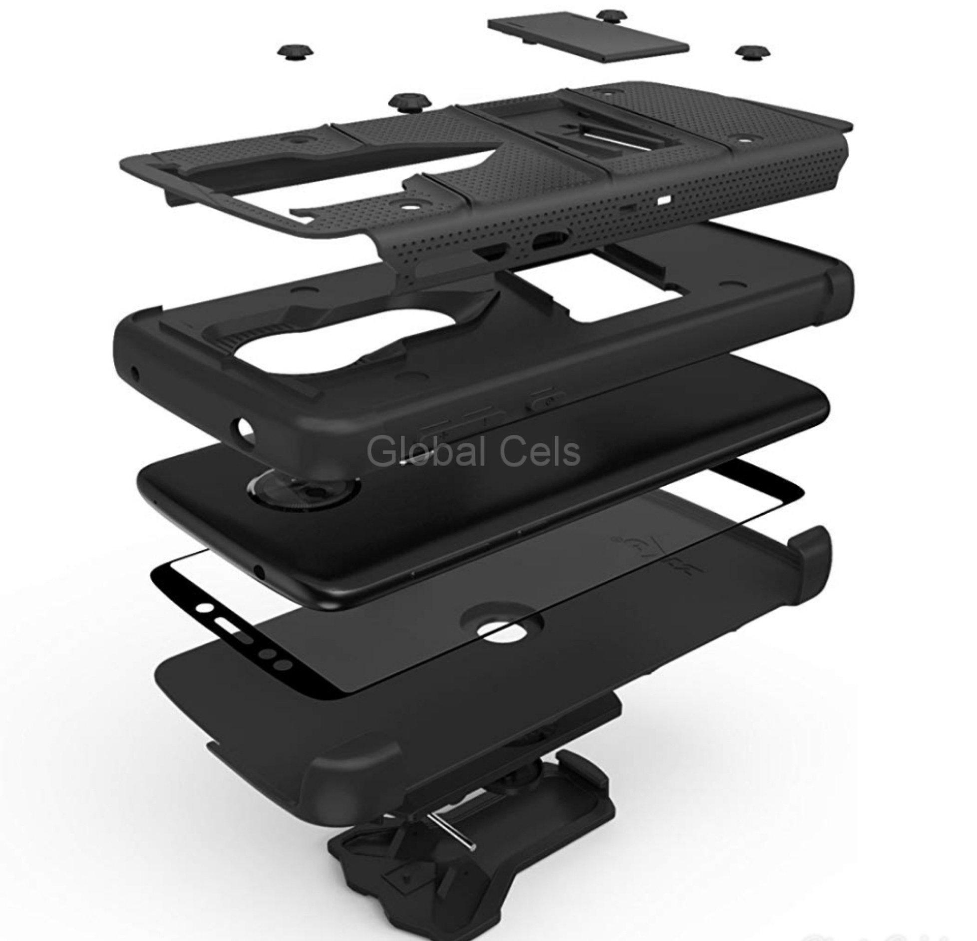Case Moto E5 Plus c/ Vidrio Templado Negro Zizo