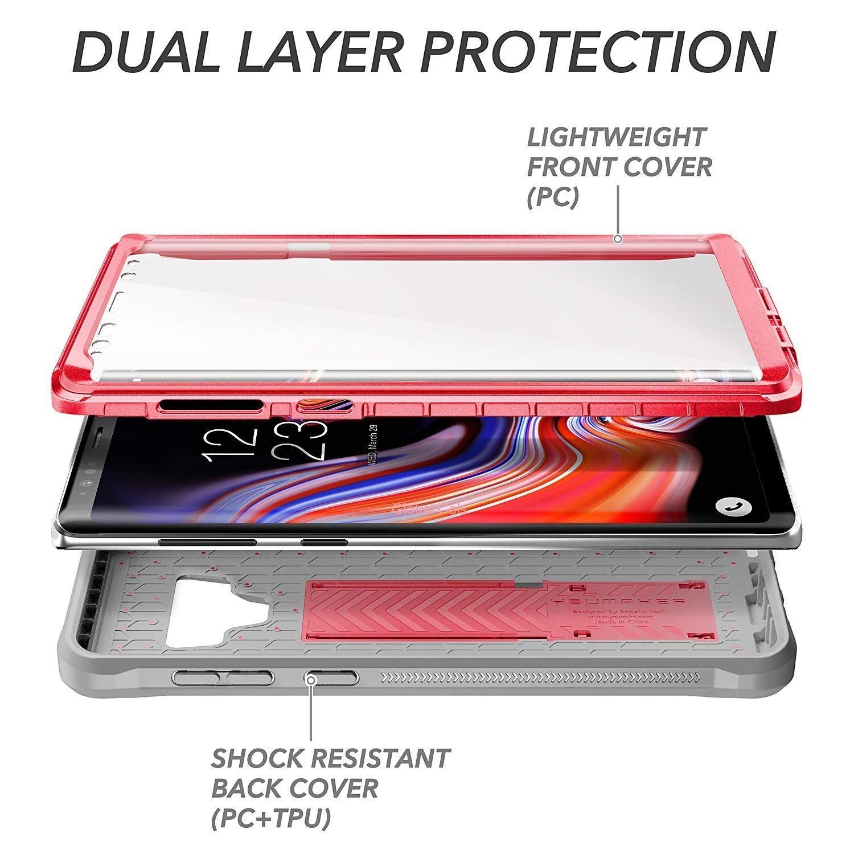 Case Galaxy Note 9 Rosado Funda 360 c/ Mica c/ Parador Vertical Horizontal