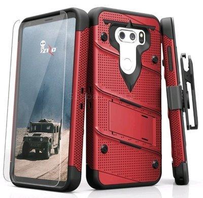 Case Funda LG V35 Thinq Rojo Vino Zizo USA c/ Vidrio Templado Militarizado