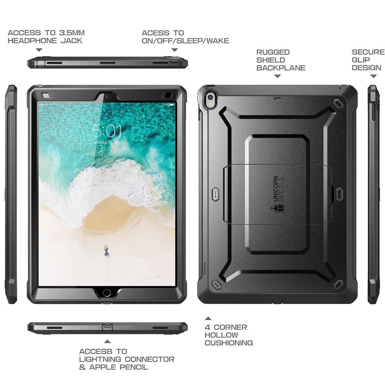 """Case Ipad 9,7"""" Ipad 5 IPad 6 Ipad 2017 2018 Supcase color Negro"""