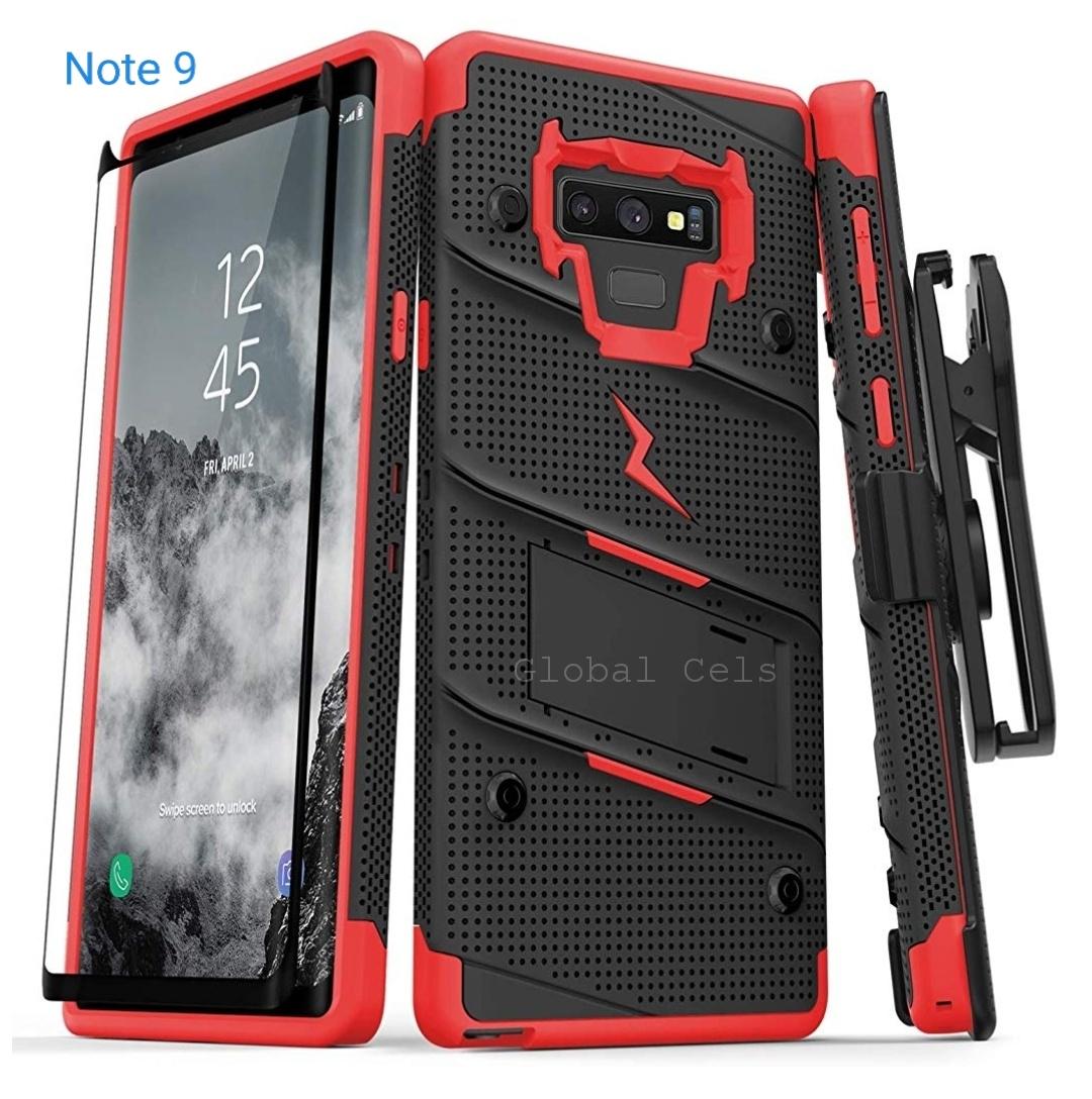 Case Galaxy Note 9 Negro con Rojo Zizo Z-bold c/ Vidrio Templado c/ Gancho c/ 2 parantes 00345