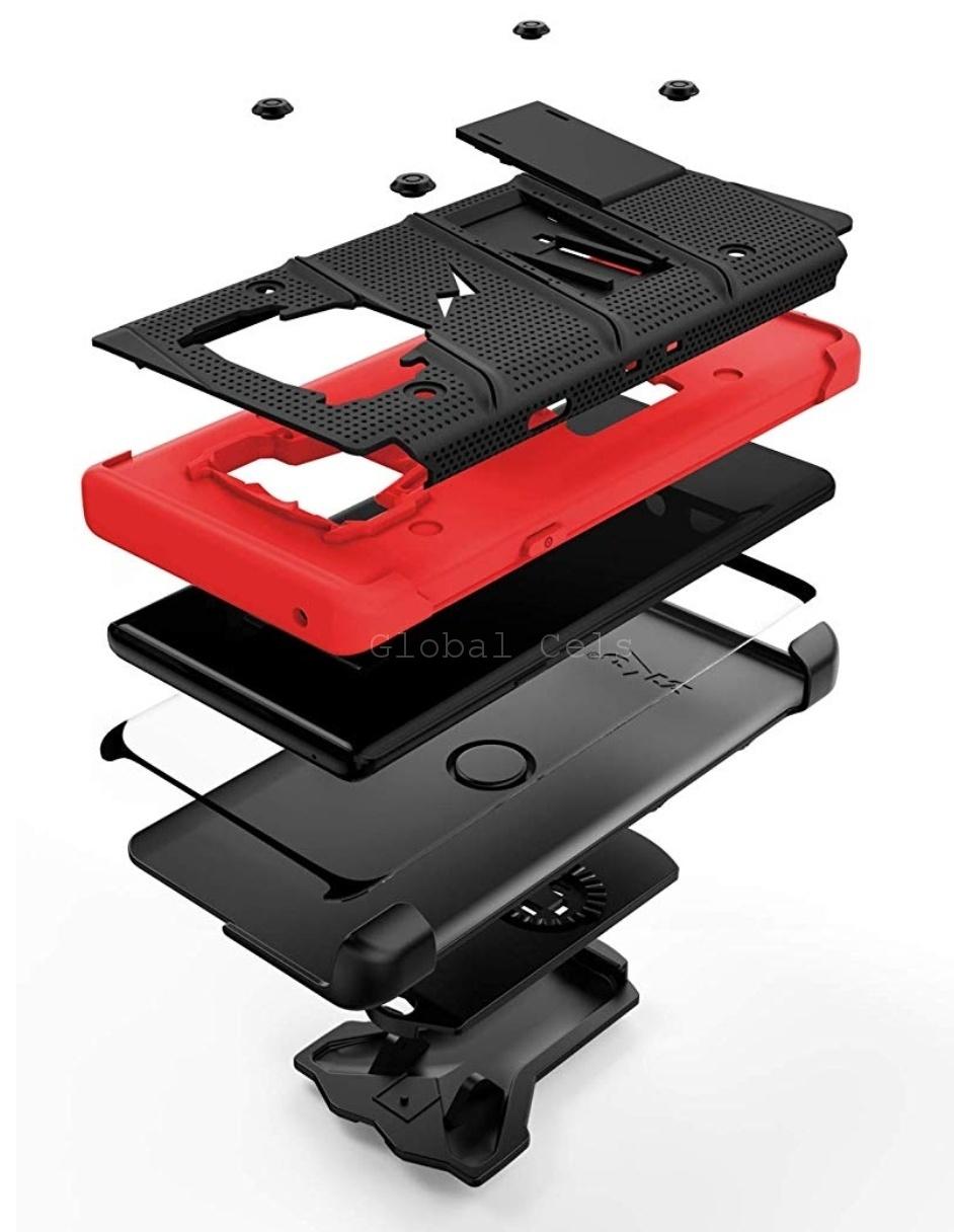 Case Galaxy Note 9 Negro con Rojo Zizo Z-bold c/ Vidrio Templado c/ Gancho c/ 2 parantes